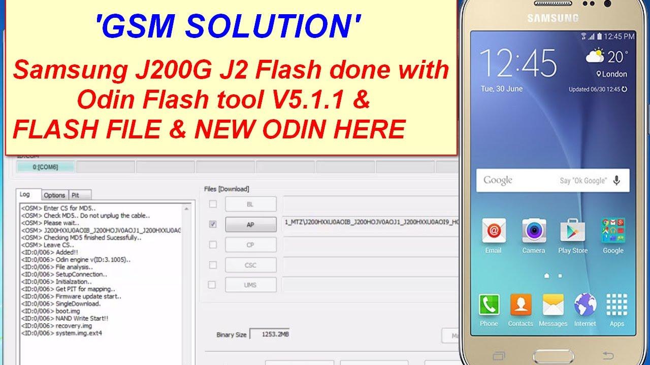 Samsung J200g J2 Flash Done With Odin Flash Tool V5 1 1