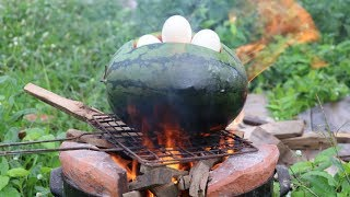 How to cook eggs in watermelon -  Cambodia Traditional Food Style - Beautiful Girl Cooking