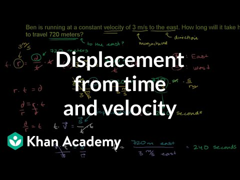Displacement from time and velocity example | One-dimensional motion | Physics | Khan Academy