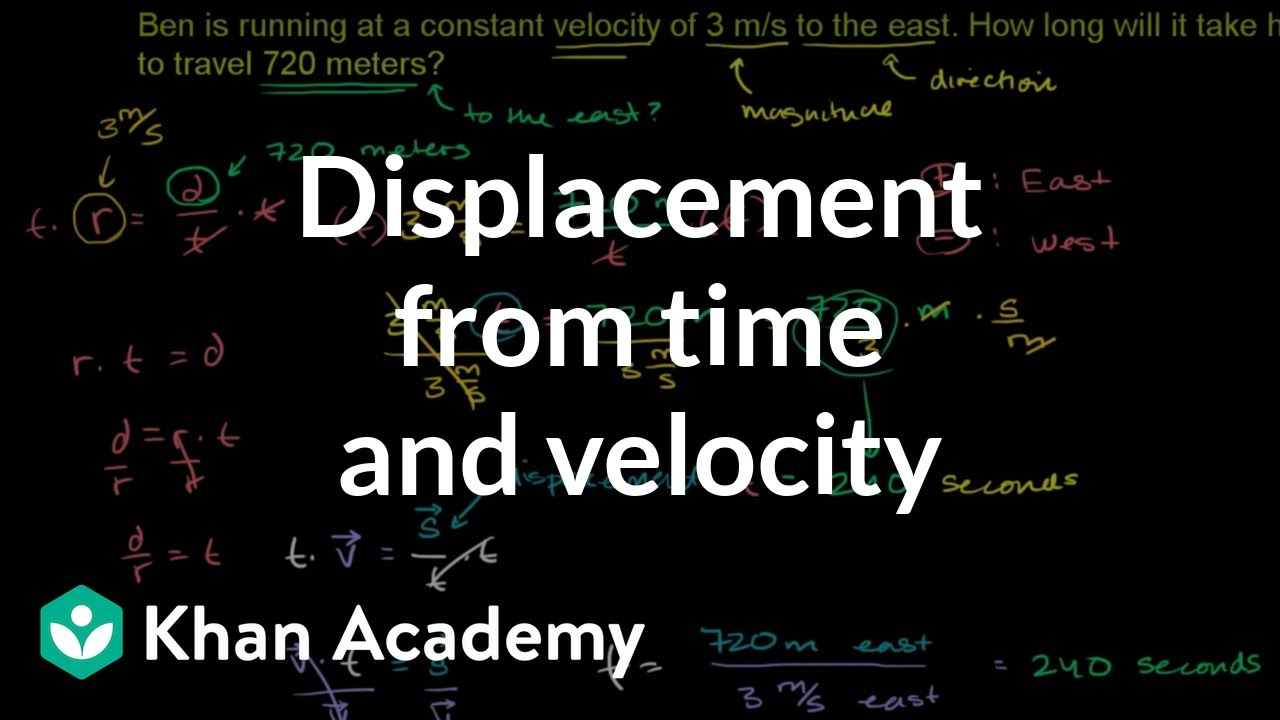 Displacement from time and velocity example (video) | Khan Academy