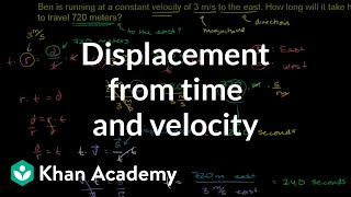 vuclip Displacement from time and velocity example | One-dimensional motion | Physics | Khan Academy