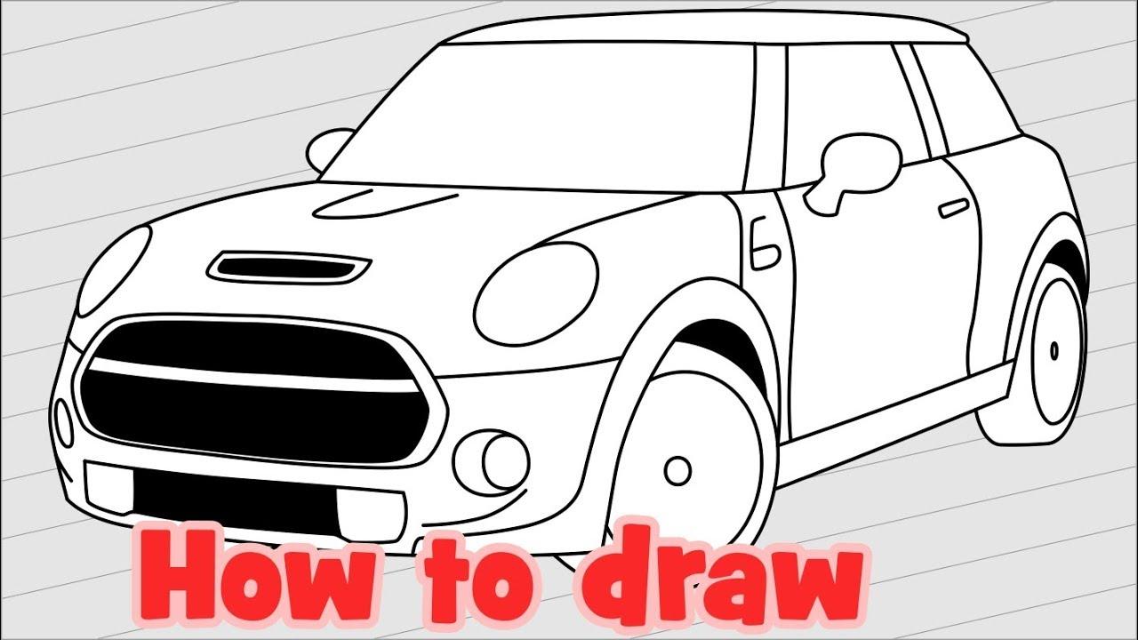 how to draw a car mini cooper s 2018 [ 1280 x 720 Pixel ]