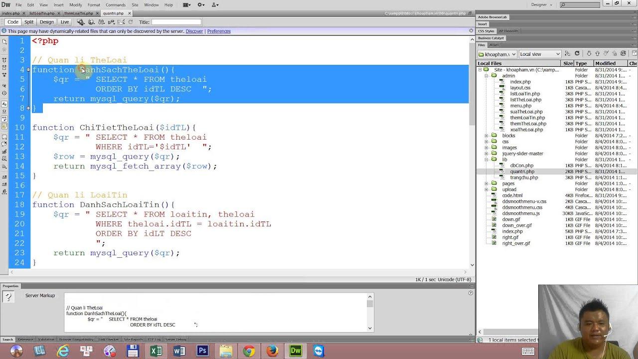 Lập trình PHP - Bài 22: Trang quản trị - Viết code quản lí loại tin