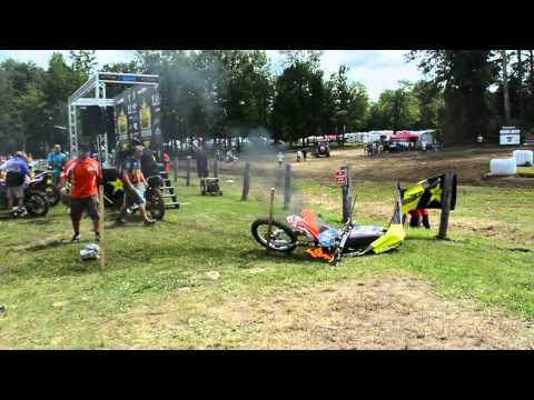 Dirt bike lights on fire at race