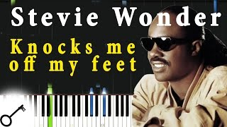 Stevie Wonder - Knocks me off my feet [Piano Tutorial] Synthesia | passkeypiano