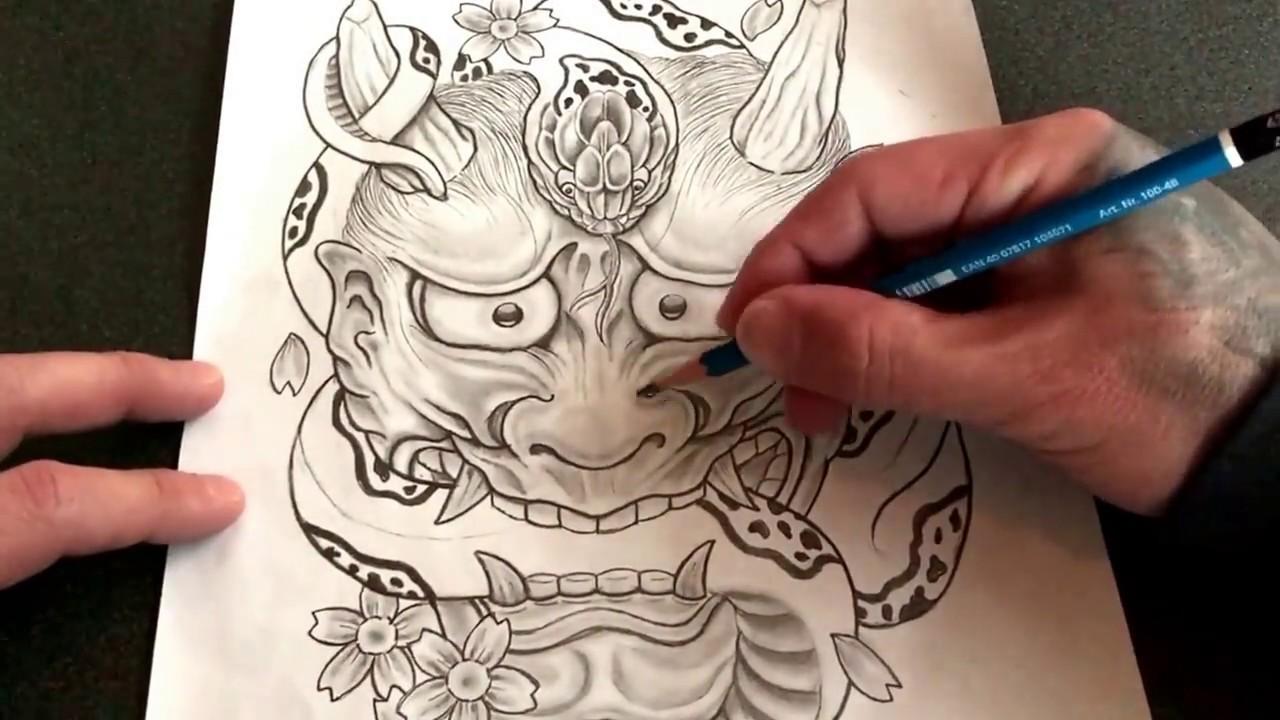 般若と蛇桜散らし Tattoo下絵作成途中経過動画 Youtube