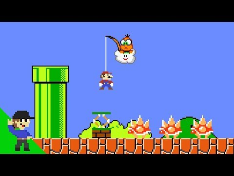 Mario tries to win by doing absolutely nothing in Super Mario Bros.