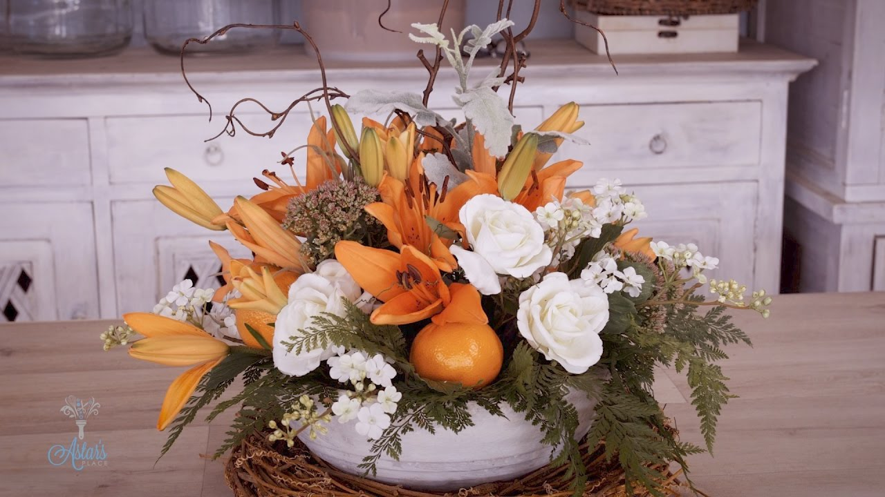 Orange And White Wedding Table Flowers Floristry Tutorial Youtube