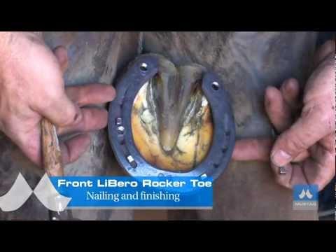 Mustad LiBero horseshoes modifications - Rocker Toe on a front toe-clipped shoe