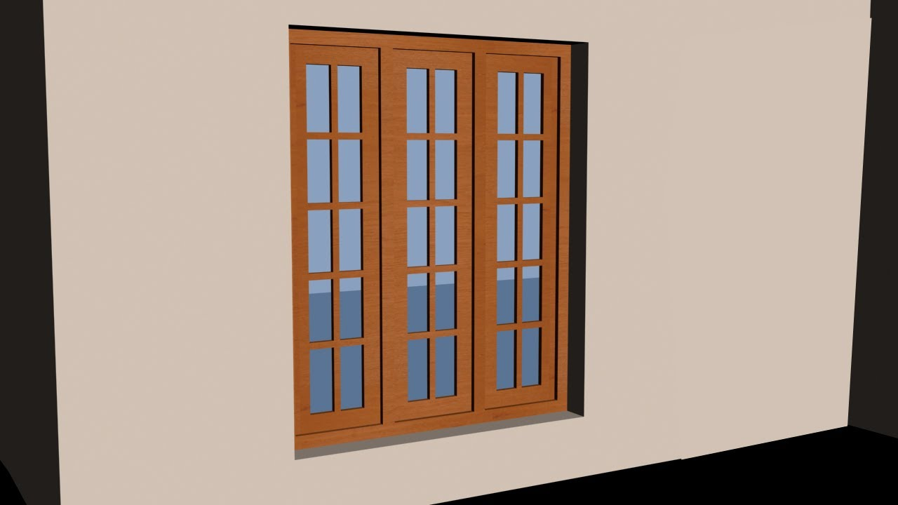 Autocad 3d house part3 make a 3d window youtube for Window frame designs house design