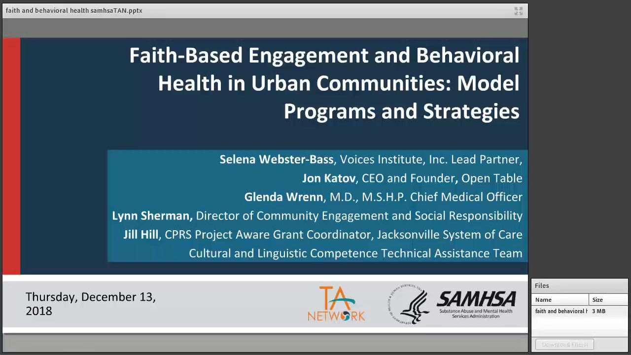 Faith-Based Engagement and Behavioral Health in Urban Communities: Model  Programs and Strategies
