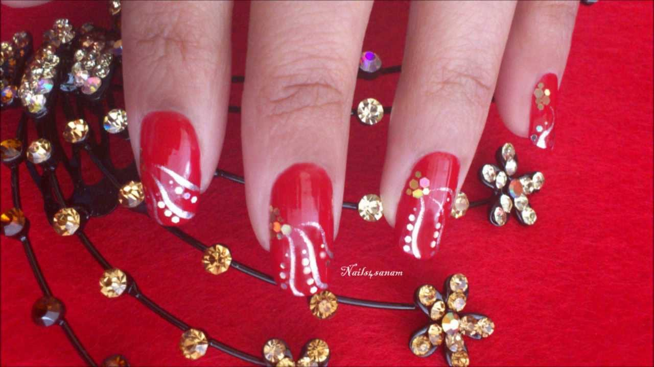 Red Silver Stripes nail art - YouTube
