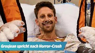 Feuer-Unfall in der Formel 1: Romain Grosjean meldet sich aus dem Krankenhaus