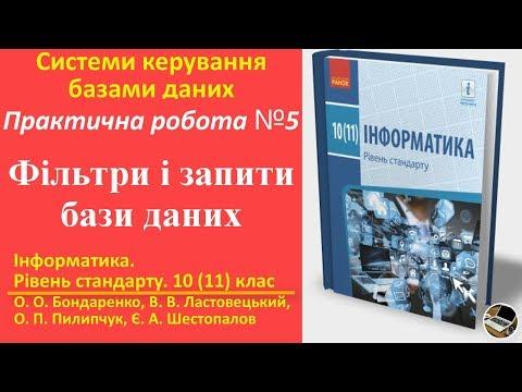 Практична робота 5. Фільтри і запити бази даних | 10(11) клас | Бондаренко