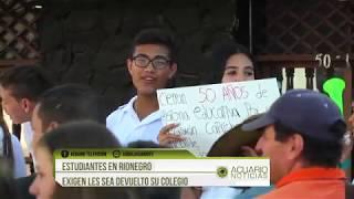 Estudiantes en Rionegro exigen les sea devuelto su colegio
