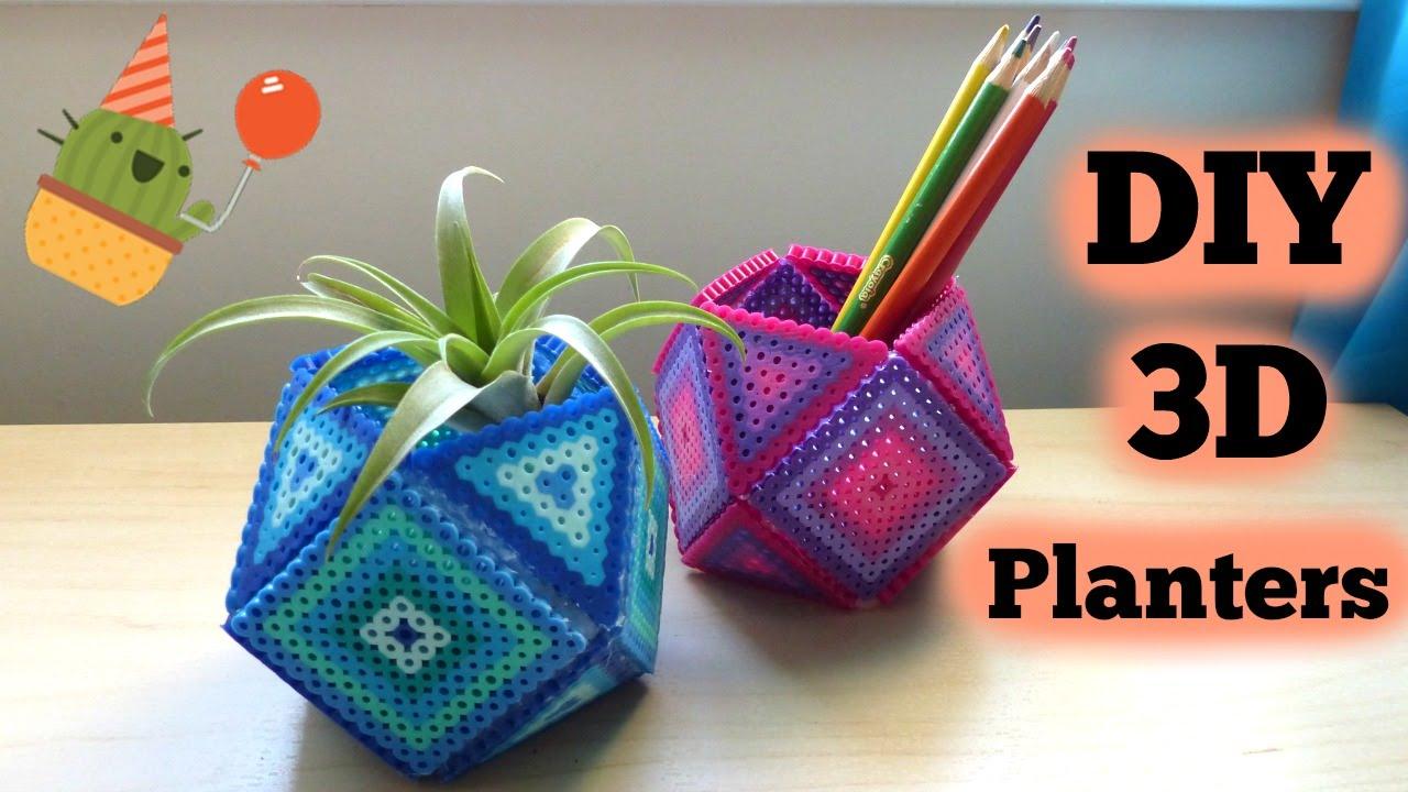 diy 3d perler bead geometric planters youtube