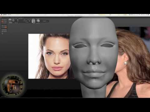 Speed Art Part 1, modeling 3D face look like Angelina Jolie SCULPTRIS