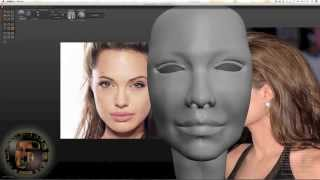 Speed Art Part 1, modeling 3D face look like Angelina Jolie SCULPTRIS