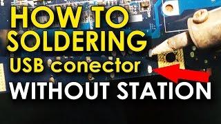 How to soldering USB connector. Как припаять разъем USB без термо станции