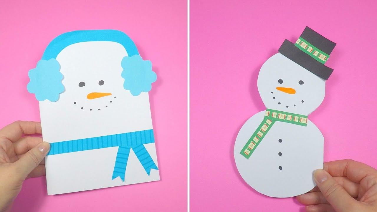 3 Easy Snowman Christmas Card Ideas Christmas Craft For Kids