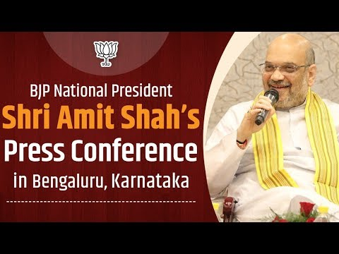Shri Amit Shah addresses a press conference in Bengaluru, Karnataka.