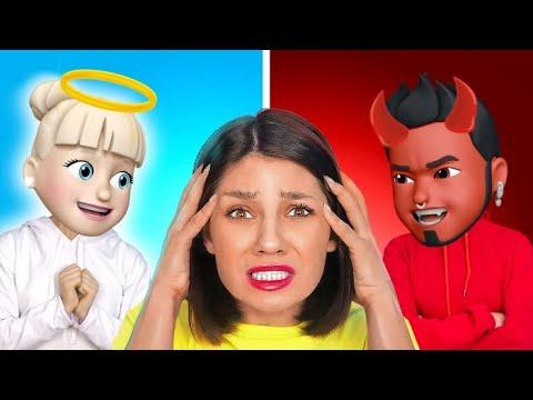 ANGIOLETTO VS DIAVOLETTO    Sfida Tra Emoji Nella Vita Reale! su 123 GO! SCHOOL