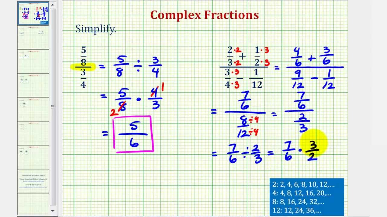 Ex 1: Simplify a Complex Fraction (No Variables) - YouTube