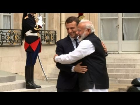 Indian PM Modi meets French president Macron at the Elysee