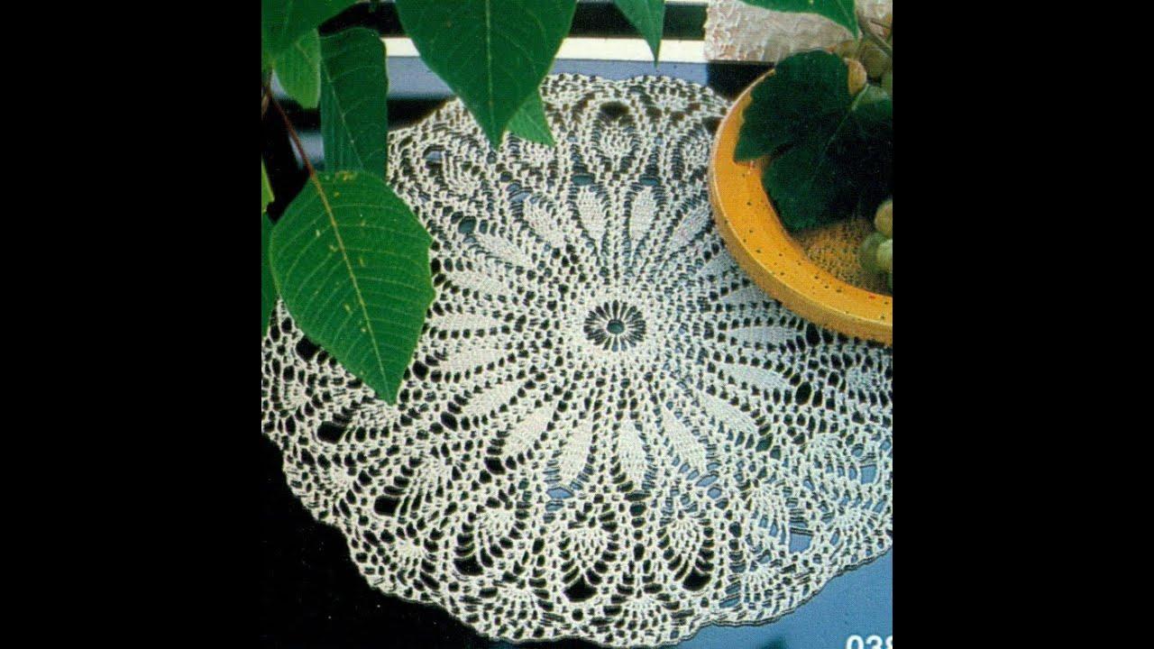Gráficos para tejer mantel/tapete con motivos piña a crochet - YouTube