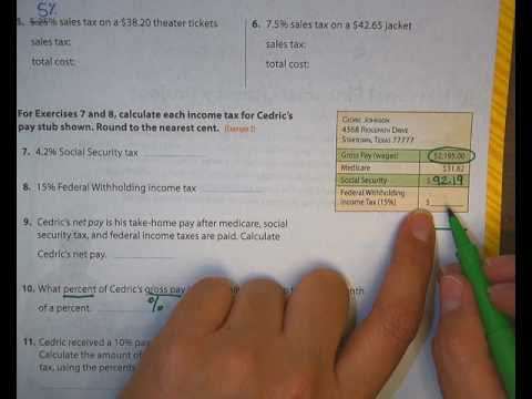 solving for income tax and federal withholding tax