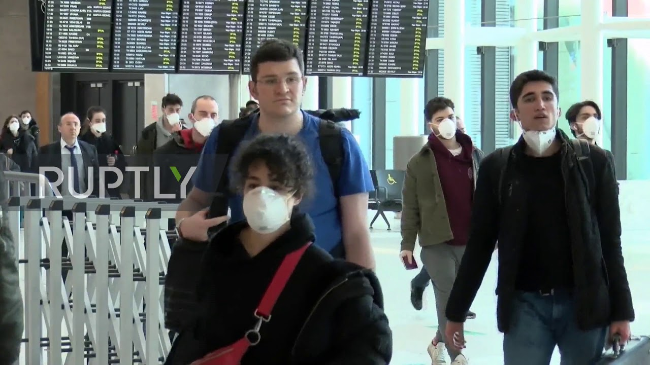 Turkey: Turkish citizens evacuated from Europe due to COVID-19 arrive at Istanbul airport