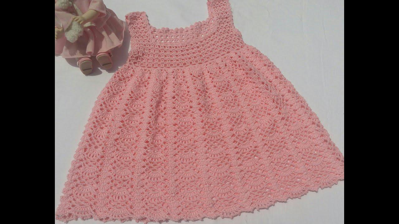 Vestido para ni a tejido a crochet o ganchillo youtube - Jerseys faciles de hacer ...