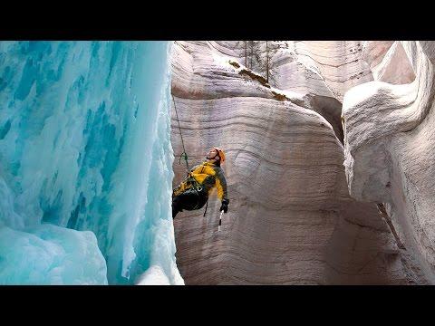 ICE CLIMBING FROZEN WATERFALL - JASPER ALBERTA