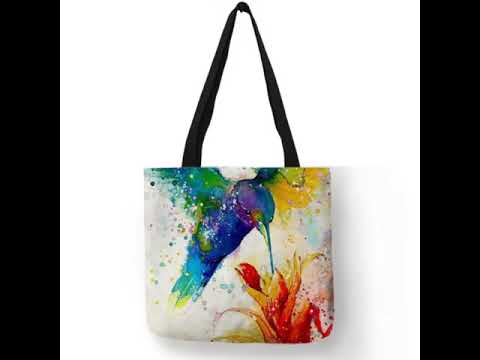 Watercolor Tote bags featuring :Owl, Hummingbird or a Parrot