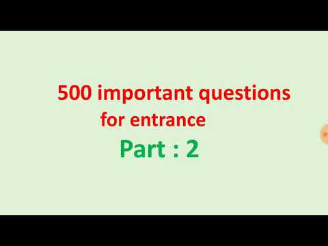 Most Important Questions For  Entrance Examination (+2)[CHEMISTRY]