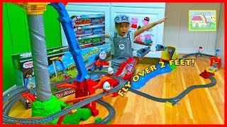 BEST BIGGEST THOMAS TRAIN SET EVER Kinder Surprise Eggs Toys FisherPrice Thomas Sky High Bridge Jump