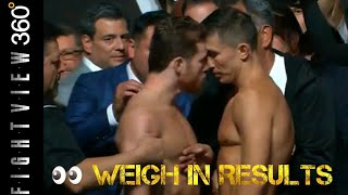 CANELO VS GGG 2 WEIGH IN FACE OFF BEEF! CANELO SWALLOWS HYDRATION PILL THEN FALLS FROM CHAIR!