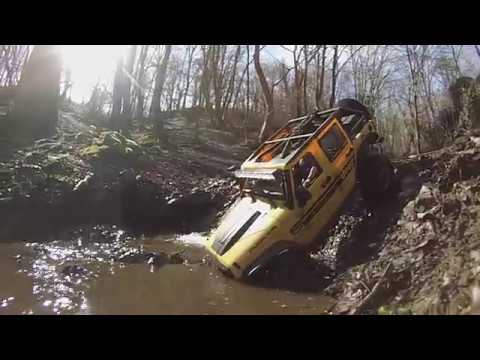 Xtra Speed Jeep Hard Body V2 JK, Axial SCX10II by Rubicon69 in the river and on the rocks