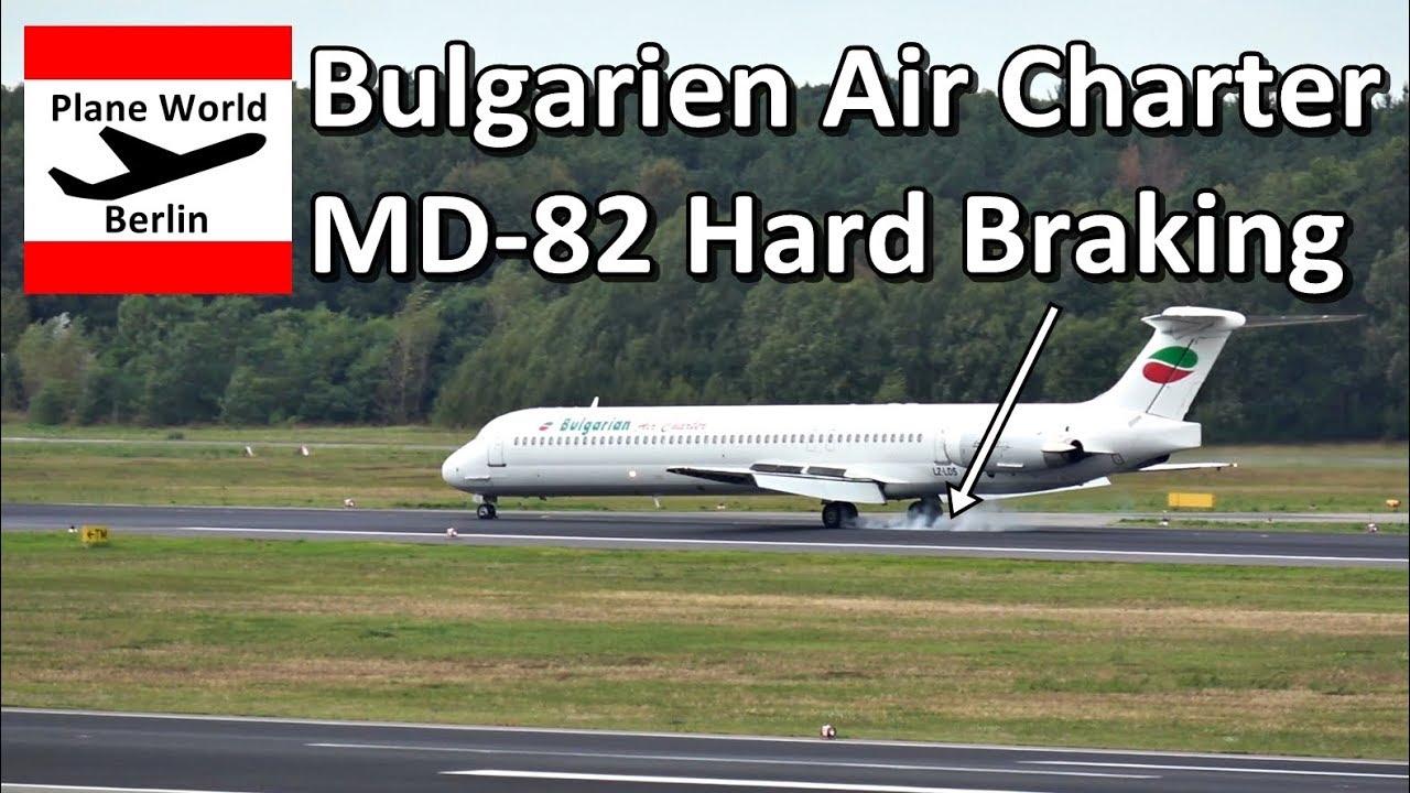 Hard Braking: Bulgarian Air Charter MD-82 landing in Berlin TXL