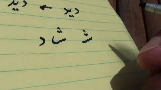 FARSI Letters - Persian or Iranian alphabet- lesson 8 y, ee, e, sh   ز ن ش  و
