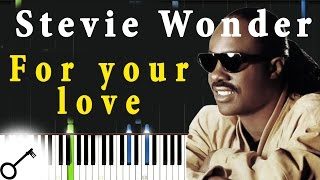 Stevie Wonder - For your love [Piano Tutorial] Synthesia | passkeypiano