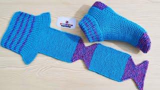 En kolay çorap patik yapımı - İki şişle bayan patik modelleri yapılışı - Yeni patik modelleri yapımı