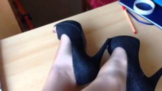 Peep toe heels and sheer pantyhose in the office