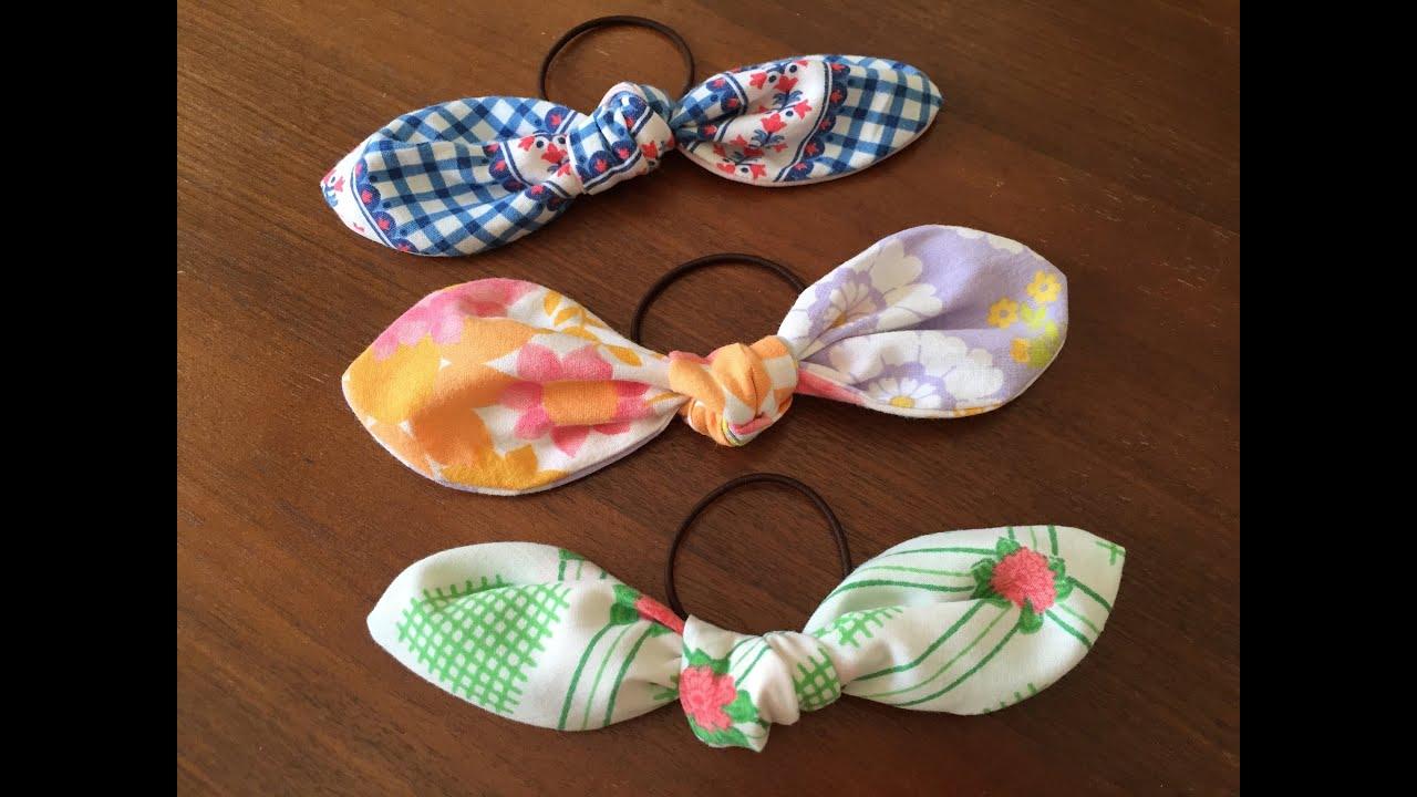 リボンへアゴムの作り方 How to make ribbon Hair Elastic Band , YouTube