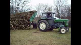 Przyczepa Sanok D 43 & ursus C4011 wywóz drzewa z lasu + kiper