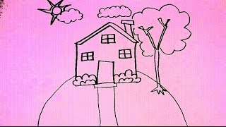 ART LESSON 65: HOW TO DRAW CARTOON House At Night STEP BY STEP - FOR BEGINNERS