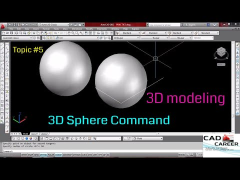 Autocad 3D modeling Sphere command | using 3D sphere command in Autocad |