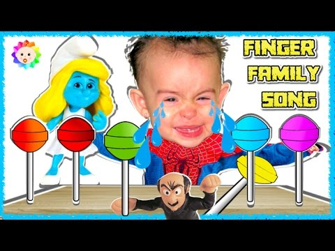 Thumbnail: Spider Baby crying learn colors Rainbow Lollipops Bad Smurfs The Lost Village Finger Family Song #3