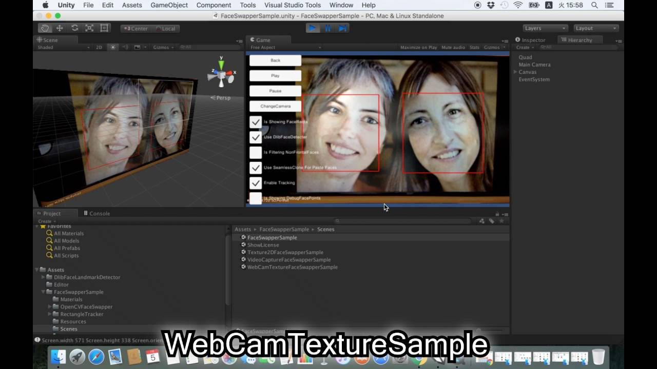 Face Swapper Example using OpenCV for Unity