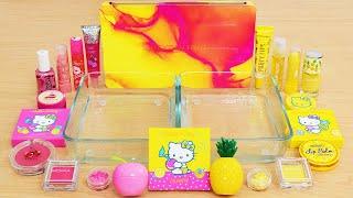 Bright Cherry Pink vs Golden Pineapple Yellow - Mixing Makeup Eyeshadow Into Slime ASMR